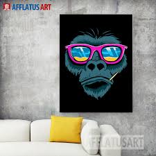 afflatus modern wall art fashion cool orangutan canvas painting posters and prints wall pictures for living