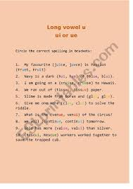 See our extensive collection of esl phonics materials for all levels, including word lists, sentences, reading passages, activities, and worksheets! Long Vowel U Ui Or Ue Esl Worksheet By Ummzz