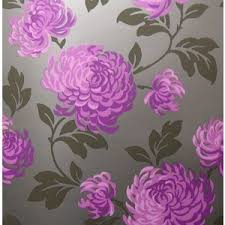 BLOOM FEATURE WALL DESIGNER WALLPAPER PURPLE CHARCOAL on eBay (end time  05-Dec-