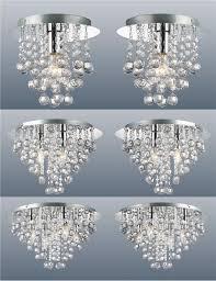 pair of modern chrome ceiling lights flush fitting crystal droplet chandelier