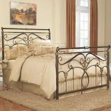 wrought iron bed frame queen. Contemporary Bed Lucinda Marbled Russet Queen Complete Bed With Intricate Metal Scrollwork  And Sleighed Top Rail Panels To Wrought Iron Frame N