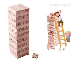 Wooden Brick Game Free shipping wooden digital domino toys large layer upon layer 2