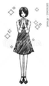 女性 白黒 手を組むのイラスト素材 20426285 Pixta