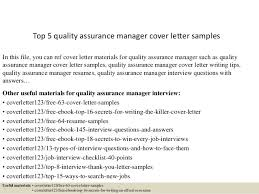 Pharma Cover Letters Top 5 Quality Assurance Manager Cover Letter Samples