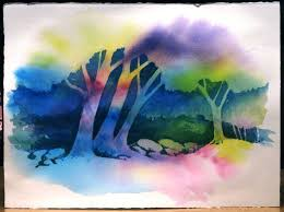 negative trees space paintingwatercolor
