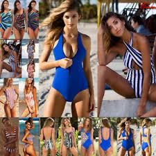 Good Image Is Loading Women Swimming Costume Padded Bra Swimsuit Monokini  Swimwear