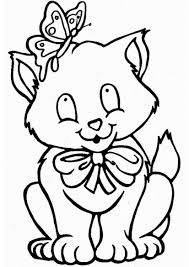 Small Picture Cute Cat and Butterfly Coloring Pages Coloring Pages