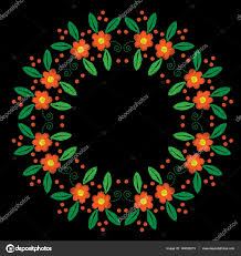 embroidery round frame with orange flower with green leaf stock vector