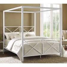 white four poster bed queen. Fine Four Image Is Loading FourPosterBedFrameCanopyQueenSizeModern Throughout White Four Poster Bed Queen EBay