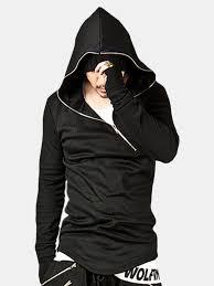 Cool Mens Casual <b>Stitching Diagonal Zipper</b> Long Sleeve <b>Hoodies</b> ...