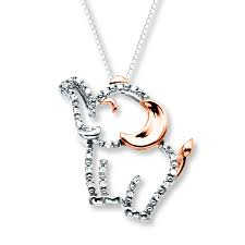 elephant necklace 1 20 ct tw diamonds sterling silver 10k gold
