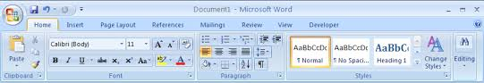 Word Ribbon Tabs And Their Functions In Word 2007 Ribbon