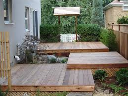 Japanese Garden -- tiered deck with Japanese entrance way