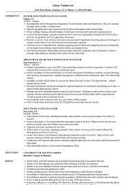 Solutions Sales Manager Resume Samples Velvet Jobs