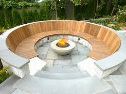 Outdoor Living:Best Outdoor Fireplace Seating Idea With Round Bench And  Modern Center Gass Fireplace