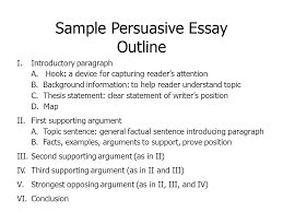 persuasive essay main objectives choose a position on an issue sample persuasive essay outline i introductory paragraph a