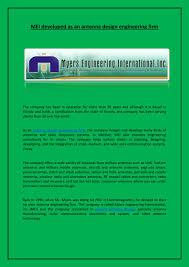 Custom Antenna Design Mei Developed As An Antenna Design Engineering Firm By