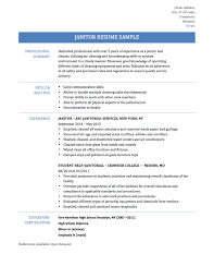 Skills Of A Janitor Resume Cv Cover Letter