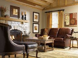 Living Room:Exciting Country Living Rooms Decor With Dark Brown Leather  Sofa Also Exposed Stone