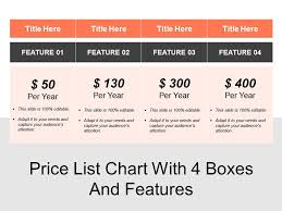 Pricing Chart Examples Price List Chart With 4 Boxes And Features Powerpoint