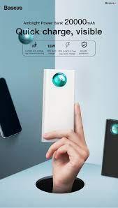 Pin dự phòng sạc nhanh Baseus Amblight PD/QC3.0 điện thoại  Android/Iphone/Macbook 20000mAh 18W 33W, PD, QC3.0, 2*Port USB+ Type C  in/out, LED Display - nRevo