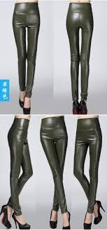 autumn winter women clothing skinny pu leather pencil leggings slim faux leather pants female fashion thick fleece trousers