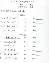teachers writing hands on equations worksheets hands on equations