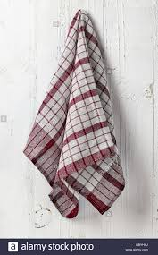 Kitchen Towel Hanging Red Squared Kitchen Towel Hanging On White Wooden Wall Background