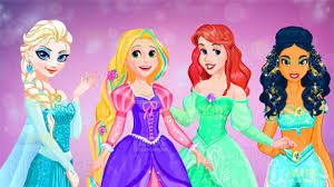 Disney Princess Elsa Ariel Rapunzel Jasmine Hair Salon And Dress