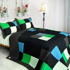 fatal attraction 2 vermicelli quilted patchwork plaid quilt set twin