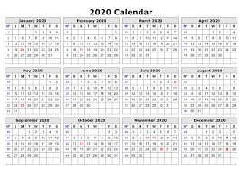 2020 One Page Calendar Printable Monthly Calendar Template