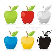 Elma · simgeler · yaprak · ikon · renkli · yalıtılmış - vektör ...