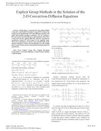 explicit group methods in the solution of the 2 d convection diffusion equations pdf available