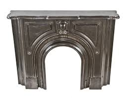 completely refinished brushed ornamental cast iron 19th century american victorian era interior residential fireplace mantel with original shelf