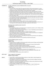 Sales Compensation Analyst Resume Samples Velvet Jobs