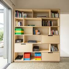 home office bookshelf. plywood bookshelf storage and home office combined together a