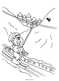 Kleurplaat Skilift Bergen Bomen Sport