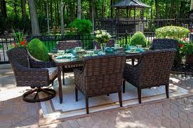 cassini collection all weather wicker 6 person patio furniture dining set with swivel chairs