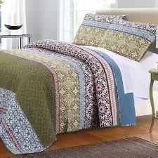 com boho bohemian quilt set with shams geometric pattern mandala blue green 100 cotton luxury reversible 3 piece print king size bedding includes