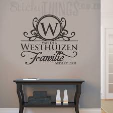 this afrikaans surname wall art is your personal surname in afrikaans with an ornate capital letter on nursery vinyl wall art cape town with afrikaans surname wall art surname decal from stickythings za