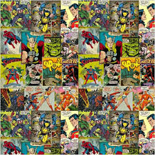 superhero characters collage shower curtain