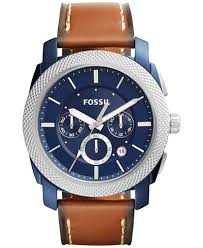 fossil fossil macy s fossil men s chronograph machine dark brown leather strap watch 45mm fs5232