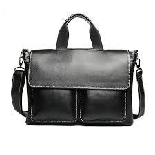 new fashion man handbag business men s genuine large leather briefcases luxury brand mens shoulder bag for