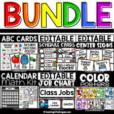 First Grade Job Chart Schedule Cards Alphabet Cards Job Chart Calendar Center Signs Color Posters