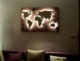 Led Wood World Map Abstract Art World Map Hanging World Map