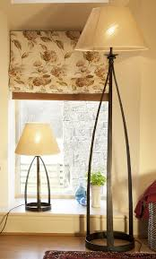 mitre wrought iron standard lamp in natural black finish with 515mm 20