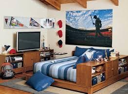 Softball Bedroom Bedroom Cool Big Modern Wood Teen Boys Bedroom With Big Tv Set