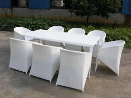 image of elegant white wicker outdoor furniture