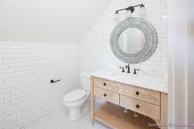 bathroom subway tile floor. Whitewashed-vanity-bathroom-cabinet-white-subway-tile -dark-grout-hexagon-white-tile-floors Bathroom Subway Tile Floor T