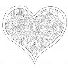 Hart De Ronde Mandala Liefde Voor Volwassenen Kleurplaat Ontwerp Van